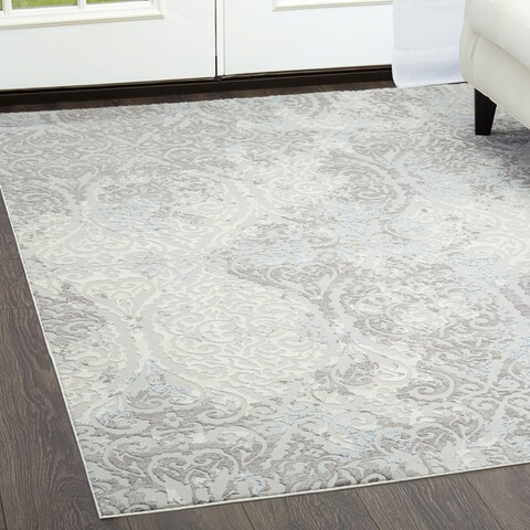 "Brooksville Ivory-Gray Area Rug by Christian Siriano - 7'9""x10'2"""