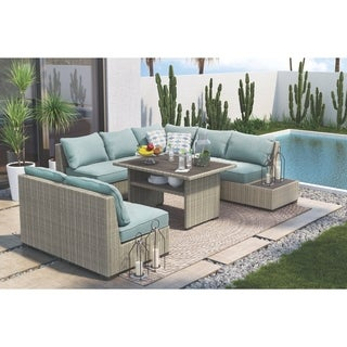 Signature Design by Ashley Silent Brook Blue Outdoor Sectional