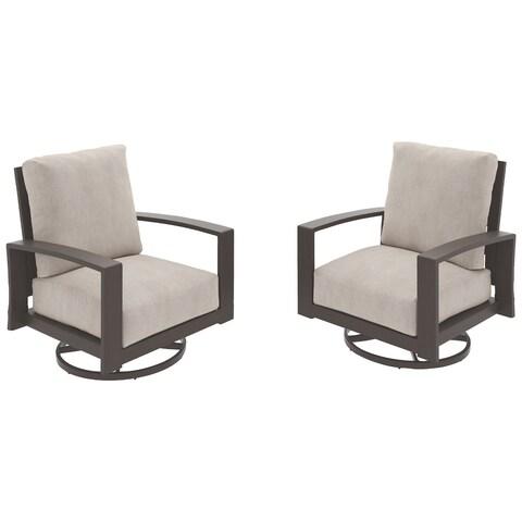 Cordova Reef Outdoor Swivel Chairs Set of 2 - Beige