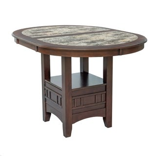 Home Source Charleston Capuccino Counter Height Dining Table with Faux Marble Table Top and Base Storage