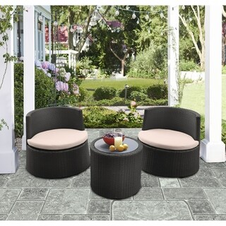 Armen Living Kailani Outdoor WickerPatio Set (Table with 2 chairs)