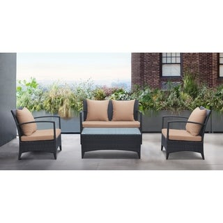 Armen Living Havana 4 piece Outdoor Wicker Patio Set with Cushions and Tempered Glass Top