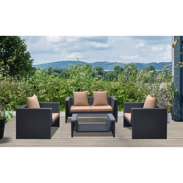 Surprising Armen Living Oahu 4 Piece Outdoor Wicker Patio Set With Cushions And Temperated Glass Top Interior Design Ideas Skatsoteloinfo