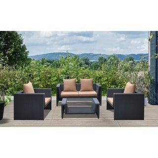 Armen Living Oahu 4 piece Outdoor Wicker Patio Set with Cushions and Temperated Glass Top