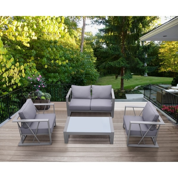 Attrayant Armen Living St Bars 4 Piece Outdoor Patio Aluminum Set With Cushions And  White Glass Top