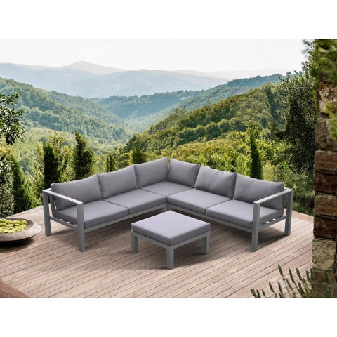 Armen Living Cliff Outdoor Patio Aluminum SectionalwithCushions