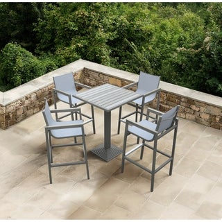 Armen Living Marina Outdoor Patio Set Grey Finish and Grey Wood Top (Table with 4 barstools)