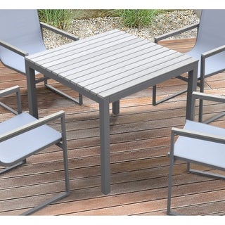Armen Living Bistro Outdoor Patio Dining Table in Grey Finish with Wood Top