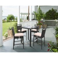 Armen Living Tropez Outdoor Patio WickerBar Set (Table with 4 barstools)
