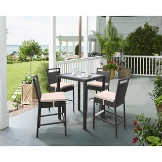 Armen Living Tropez Outdoor Patio WickerBar Set (Table with 4 barstools) - N/A