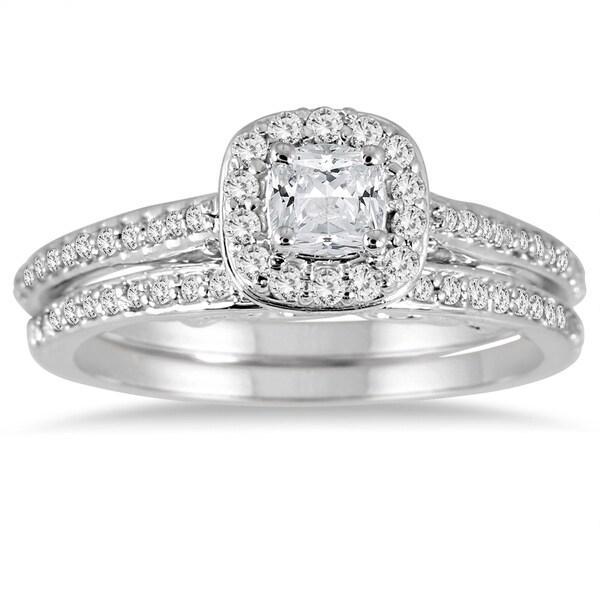 Fine Jewelry 2ct Cushion Cut Diamond Bridal Set Engagement Ring Band New 14k White Gold Over