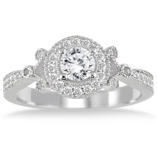 AGS Certified 3/4 Carat White Diamond Antique Engagement Ring in 14K White Gold (I-J Color, I2-I3 Clarity)