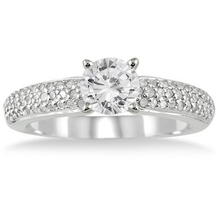 AGS Certified 1 1/10 Carat TW Diamond Engagement Ring in 10K White Gold (J-K Color, I2-I3 Clarity)