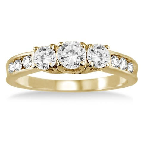 1 Carat TW Diamond Three Stone Ring in 10K Yellow Gold