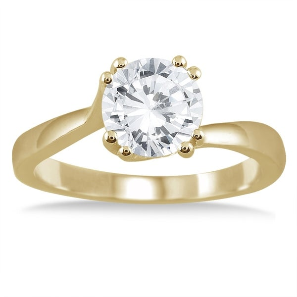 8a600dc3eac71f Shop AGS Certified 1 Carat Diamond Solitaire Engagement Ring in 14K Yellow  Gold (H-I Color, I1-I2 Clarity) - On Sale - Free Shipping Today - Overstock  - ...