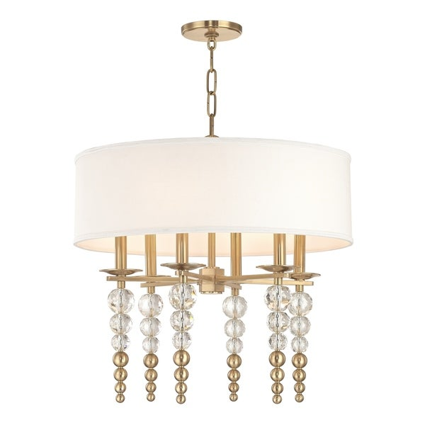 Hudson Valley Persis 6-light Aged Brass Pendant