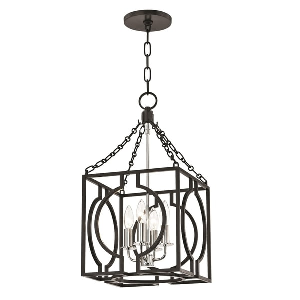 Hudson Valley Octavio 4-light Aged Iron and Polished Nickel Small Pendant