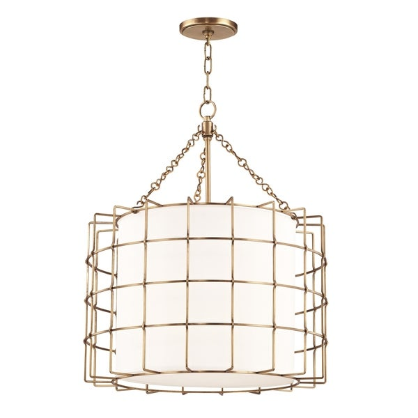 Hudson Valley Sovereign 3-light Aged Brass Pendant