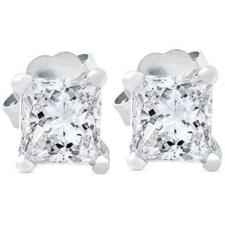 Bliss 14k White Gold 1 ct TDW Princess Cut Diamond Clarity Enhanced Studs - White G-H