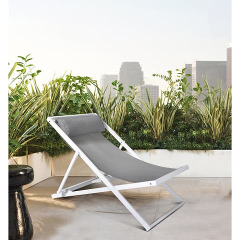 Armen Living Wave Outdoor Patio Deck Chair in White Finish with Grey Textilene