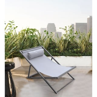 Armen Living Wave Outdoor Patio Deck Chair in Grey Finish with Grey Textilene