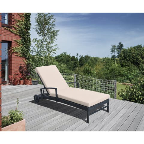Armen Living Vida Outdoor WickerLounge Chair with Beige Cushion