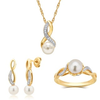 Divina Sterling Silver Pearl And White Sapphire Jewelry Set