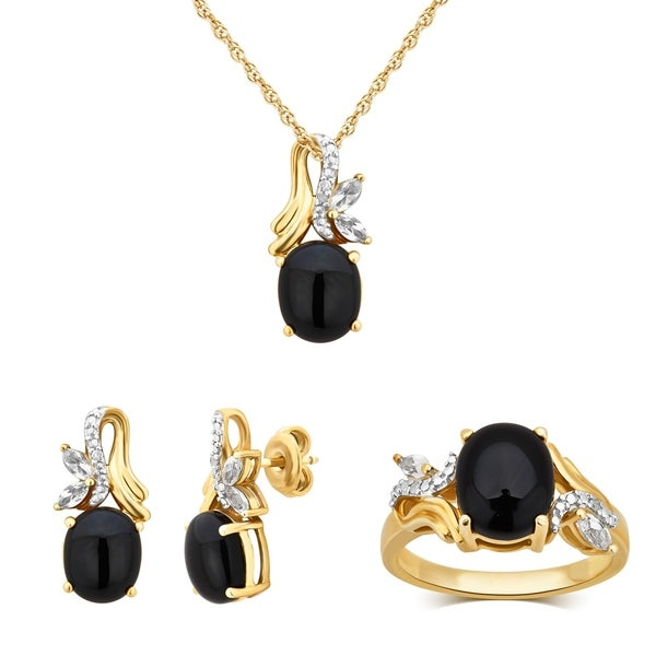 Divina Sterling Silver Onyx And White Sapphire Jewelry Set