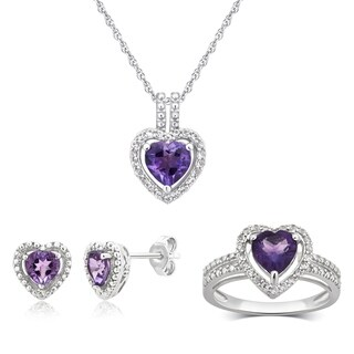 Divina Sterling Silver Amethyst and White Sapphire Jewelry Set