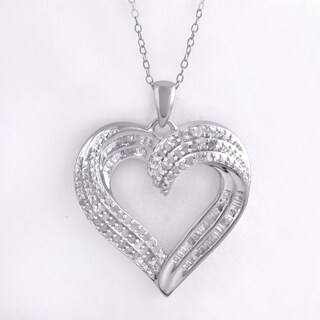 Divina Sterling Silver 1/2ct TDW Heart Pendant