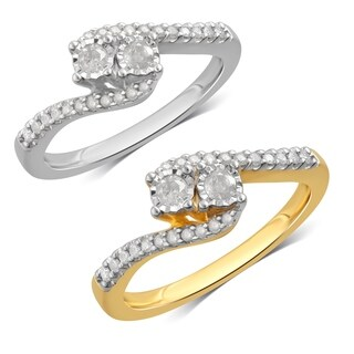 Divina Sterling Silver 1/4ct TDW Diamond Engagement Ring