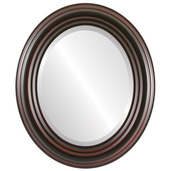 Regalia Framed Oval Mirror in Black Cherry - Brown/Cherry
