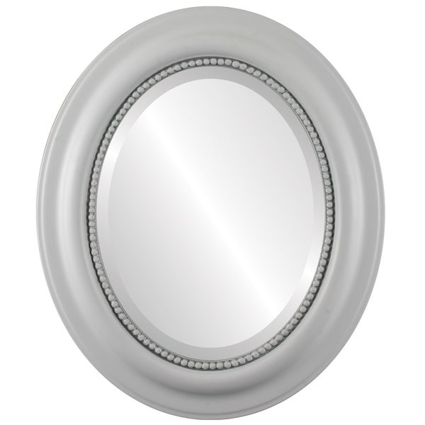 Heritage Framed Oval Mirror in Linen White