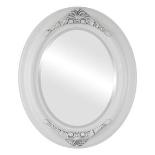 Winchester Framed Oval Mirror in Linen White