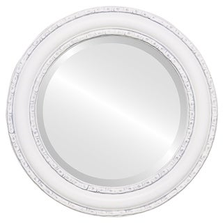 Dorset Framed Round Mirror in Linen White