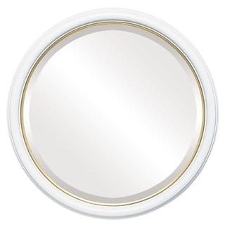 Hamilton Framed Round Mirror in Linen White  with Gold Lip
