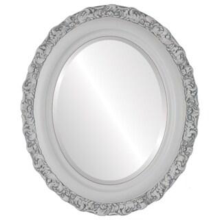 Venice Framed Oval Mirror in Linen White