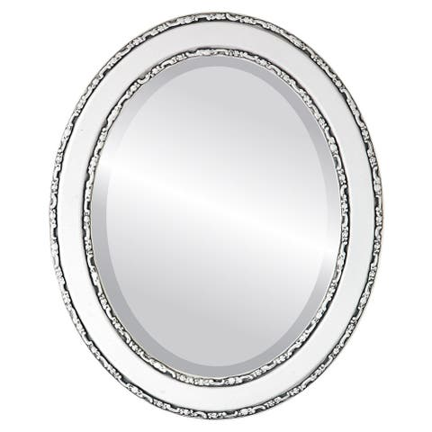 Monticello Framed Oval Mirror in Linen White