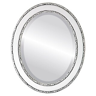 Monticello Framed Oval Mirror in Linen White