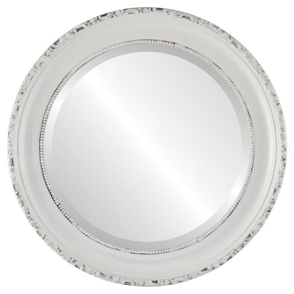 Kensington Framed Round Mirror in Linen White
