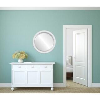 Pasadena Framed Round Mirror in Linen White
