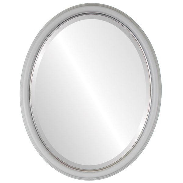 Hamilton Framed Oval Mirror in Linen White Lip
