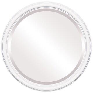 Saratoga Framed Round Mirror in Linen White