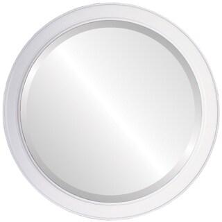 Toronto Framed Round Mirror in Linen White