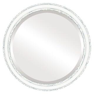 Virginia Framed Round Mirror in Linen White
