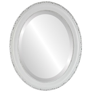Kensington Framed Oval Mirror in Linen White