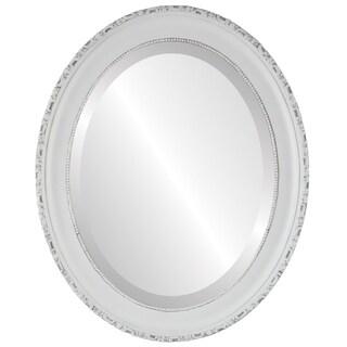 Kensington Framed Oval Mirror in Linen White