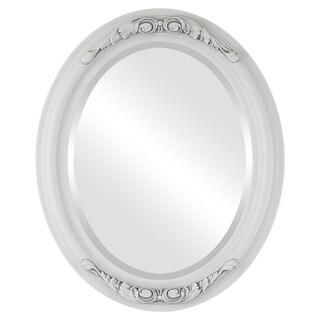 Florence Framed Oval Mirror in Linen White