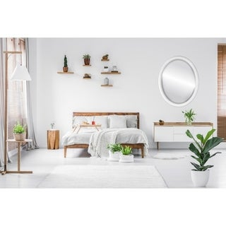 Pasadena Framed Oval Mirror in Linen White