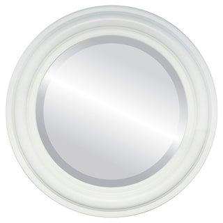 Philadelphia Framed Round Mirror in Linen White